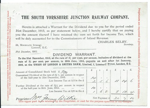 South Yorkshire Junction Railway dividend warrant 1915 | by ian.dinmore