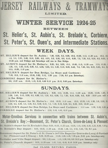 Jersey Railways & Tramway Timetable 1925 | by ian.dinmore