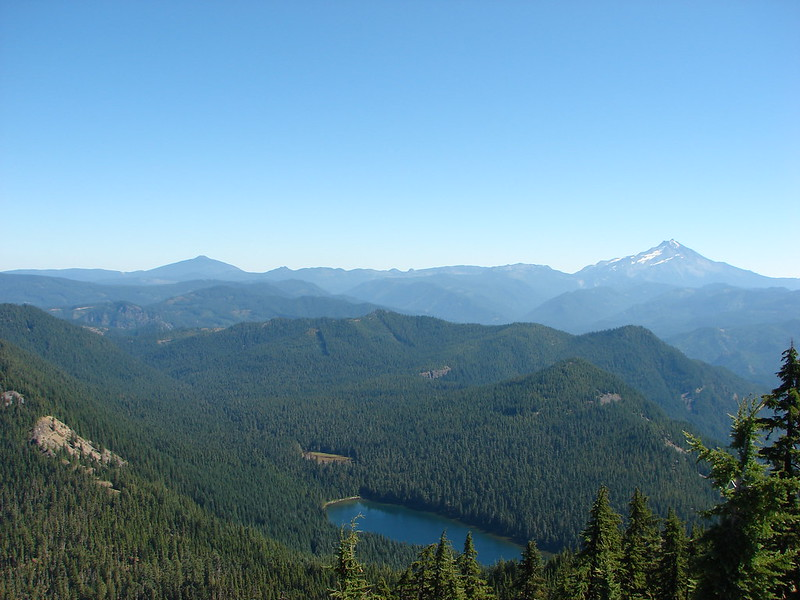 Olallie Butte and Mt. Jefferson with Elk Lake below