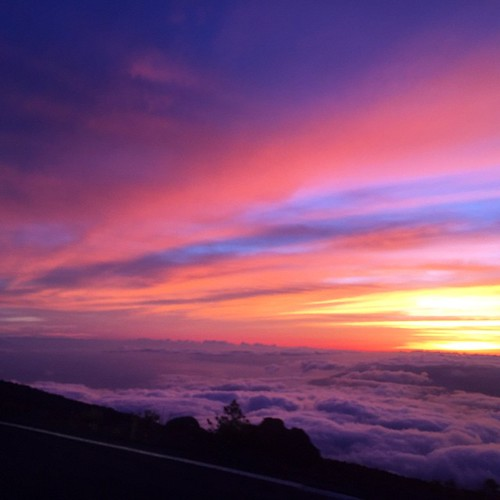 Real life #sunset at the top of #Haleakala on Tuesday. I can't even. #cottoncandy #clouds