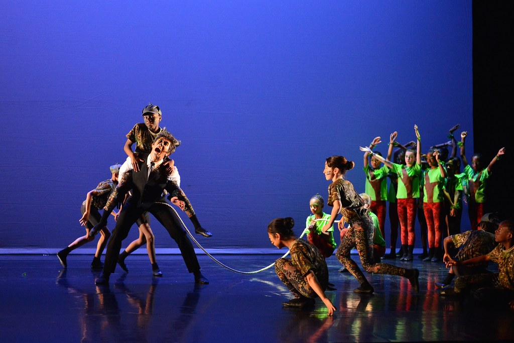 Royal Ballet dancer Kenta Kura as the Wolf with Chance to Dance students in the Annual Chance to Dance performance of Peter and the Wolf © ROH /  Brian Slater 2014