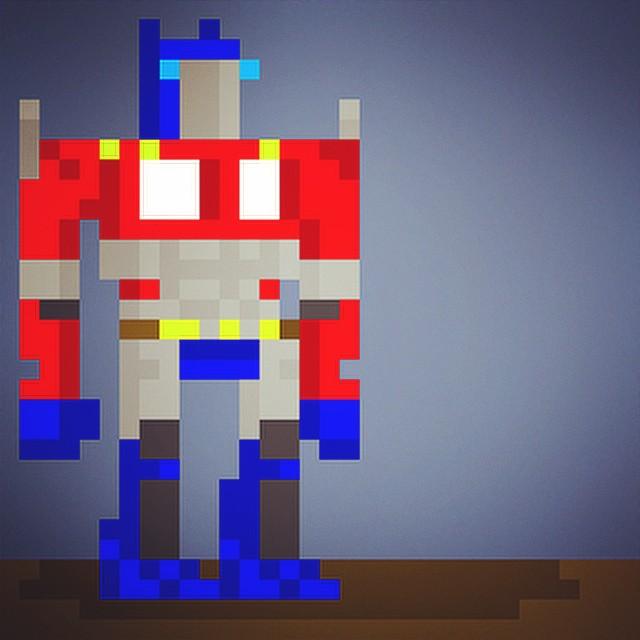 Transformers Robots Pixels Pixelart Minecraft Blocka
