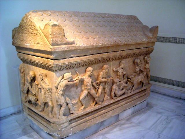 Marble attic sarcophagus, found at Ayios Ioannis, Patras, Peloponnese AD 150-170