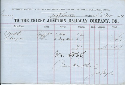 Crieff Junction Railway Waybill 1867 | by ian.dinmore
