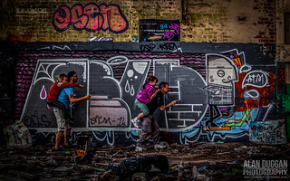 Huncoat Power Station - The four kids having fun! | by DugieUK