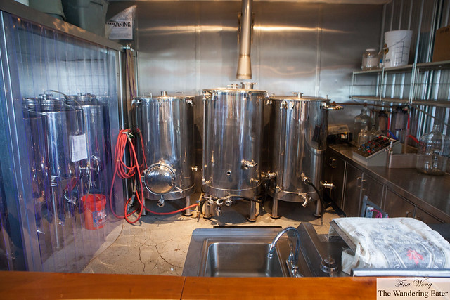 Brew tanks for Twisted Rail's beers