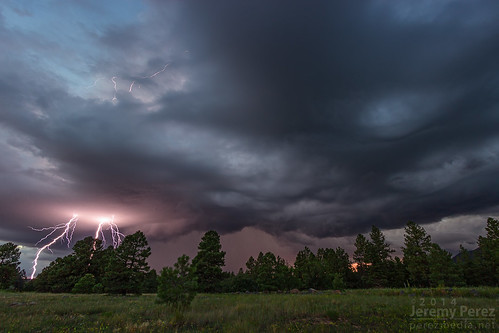 sunset arizona rain clouds forest landscape flagstaff thunderstorm lightning convection