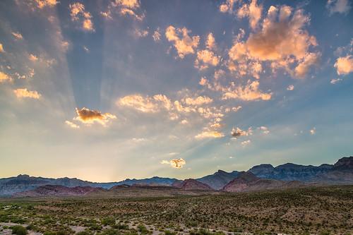 redrockcanyon sunset clouds unitedstates lasvegas nevada crepuscularrays