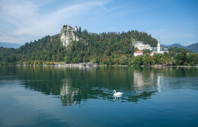 Lake Bled with swan and castle