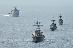 In this file photo, U.S. and Philippine Navy ships operate together during exercise Cooperation Afloat Readiness and Training (CARAT) in 2014. (U.S. Navy/MC1 Jay C. Pugh)