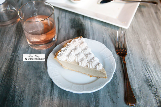 My slice of banana cream pie made with lard & bourbon crust and Summer Milk Punch