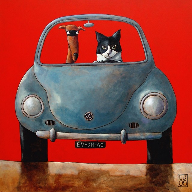 #013 #cat & #dog #painting by #dutch #painter #edvanderhoek #a.k.a. #edart #silly #dogs and #pets in #cars #publisher #art #cards #prints and #original #paintings #overview #www.edart.nl or #global #check #etsy #shop = #edart #seeya #smile : )