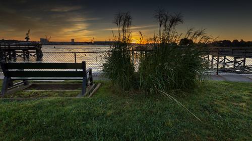 sunrise bench lawn nh portsmouth shipyard hdr prescottpark portsmouthnavalshipyard