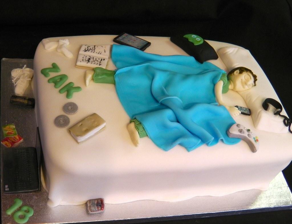 18th Birthday Boy In Bed Celebration Cake