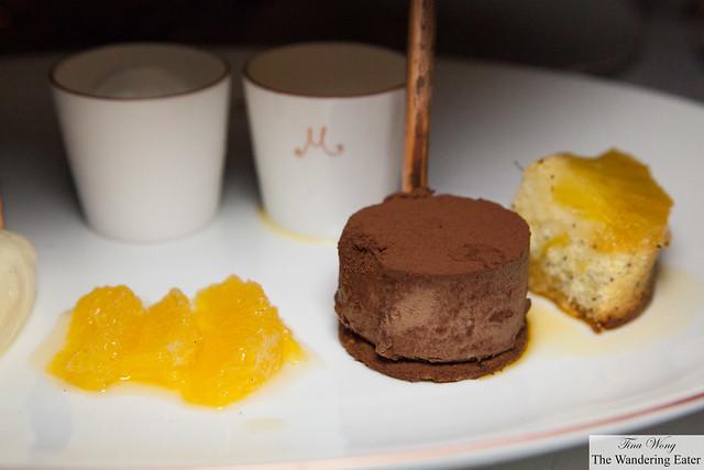 Orange segments, chocolate croquant, pineapple cake