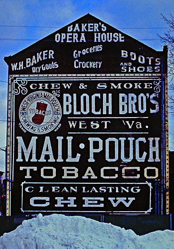 bw snow signs architecture newjersey apartments steeple storefronts stores advertisements groceries dover crockery redbrick gableend morriscounty oldfactory slopedroof chewingtobacco westva bootsshoes mailpouchtobacco blochbros chewsmoke westvirginiamailpouch 13route51 13countyroad513 paralleltowarrenstreet wblackwellstreet paintedavertisements threestorybld whiteletteringonblack blackwhiteend wdickersonstreet 65warrenstreet whbakerdrygoods