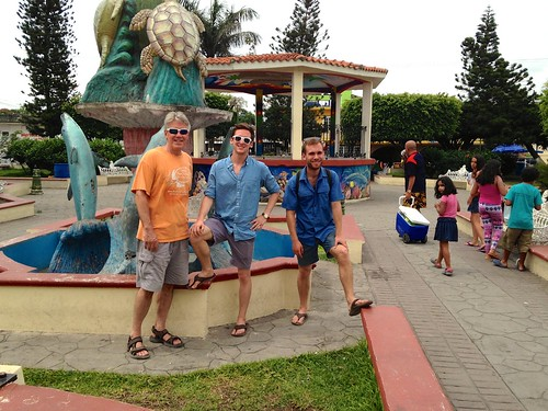 06/03/2015 - 11:53am - Seelaus men pose by the sea turtle fountain in the middle of Tecolutla