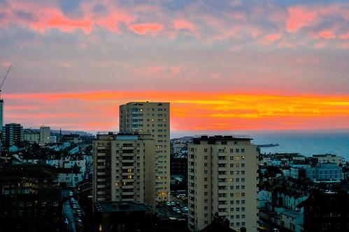 sunrise brighton england east sussex morning towerblock high rise apartments eastsussex uk sea marina
