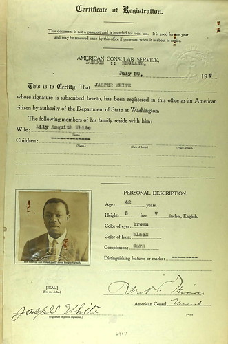 Jasper White 1917 Consular Registration | by puzzlemaster