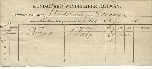 Kendal and Windermere Railway waybill 1857   by ian.dinmore