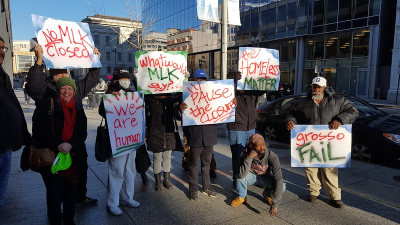 protestors at March 4 closing of MLK Library for a 3-year renovation