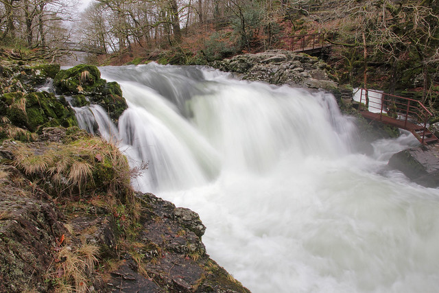 Skelwith Force, River Brathay, Skelwith Bridge, Great Langdale, Lake District National Park, Cumbria, UK