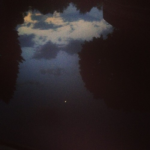 Clouds and Wee Little Moon #shirleyruns #reflection | by shirley319