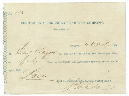 Chester and Birkenhead Railway Second share call 1838   by ian.dinmore