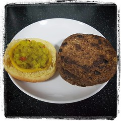 Black Bean Burger...  (the black patches are red onion)