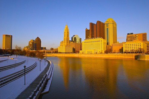 city winter sunset ohio snow reflection building skyline architecture river unitedstates 5photosaday columbusdowntown sonyslt pwwinter