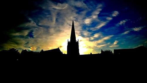 england greatbritain abingdon oxfordshire sunset sthelenschurch clouds sky silhouette nokialumia920 sun