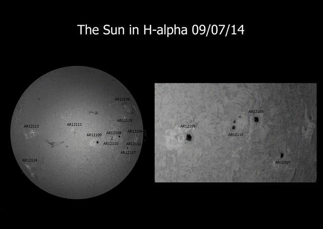 Sun in H-alpha (full disc) 09/07/14