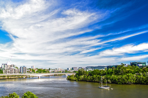 city bridge sky skyline clouds river landscape boats brisbane brisbaneriver cloudsstormssunsetssunrises