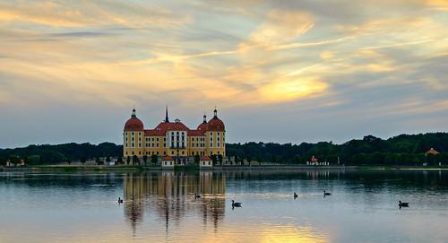 sunset castle germany deutschland evening sachsen schloss elke abendstimmung moritzburg schlossteich jagdschloss pentaxk7 körnchen59 körnerr