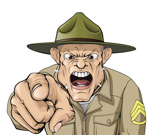 Cartoon angry army drill sergeant shouting | by KoiQuestion