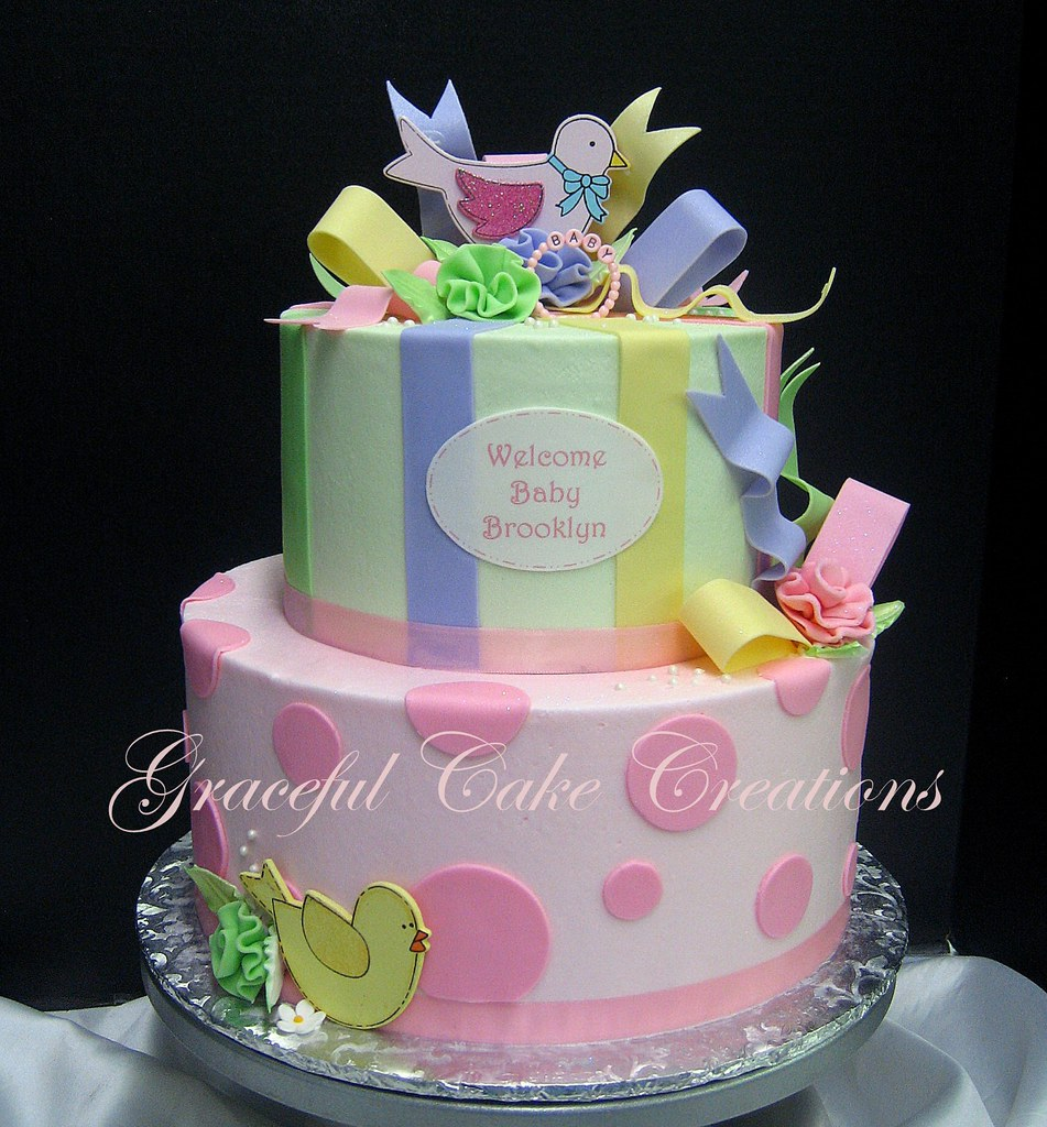 Elegant Baby Shower Cake In Pastel Pink Green Yellow And Flickr