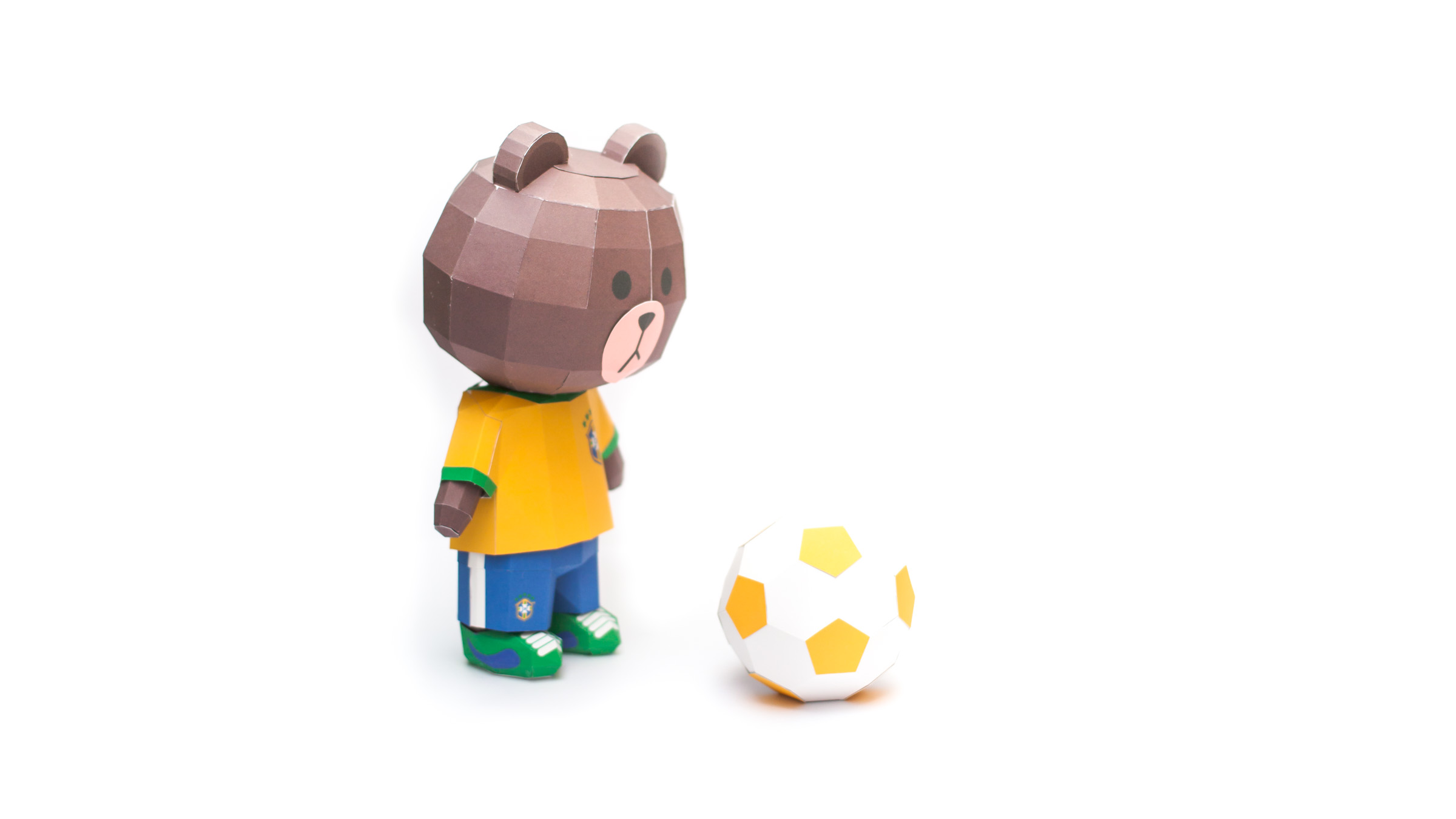 LINE Brown Bear in FIFA World Cup 2014 Brazil Uniform Papercraft Model Finished 005