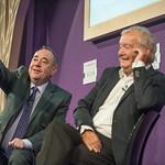 Alex Salmond on stage with Tom Devine at the Edinburgh International Book Festival |