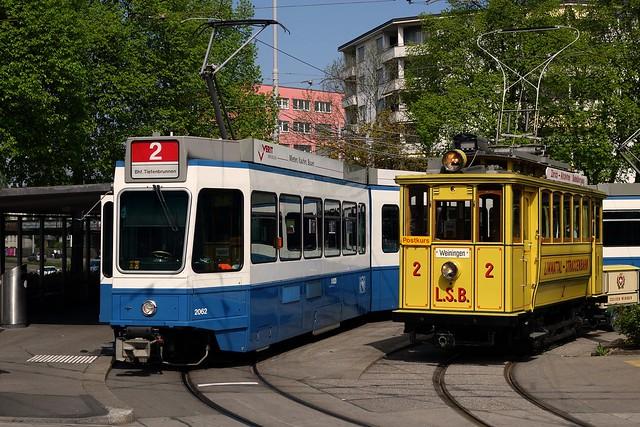 Tram Museum Zürich - LSB 2 mit Postrolli Z2 (13. April 2014)