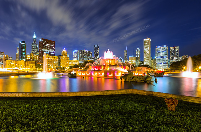 End of Dusk over Chicago Skyline and Buckingham Fountain, Grant Park Chicago Illinois
