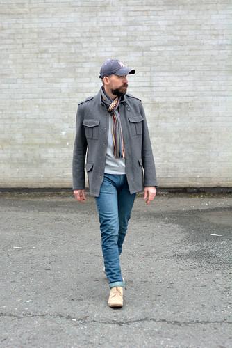 How to wear not-too-skinny skinny jeans: Grey wool jacket \ baseball cap \ striped scarf \ desert boots | Silver Londoner, over 40 menswear | by silverlondoner