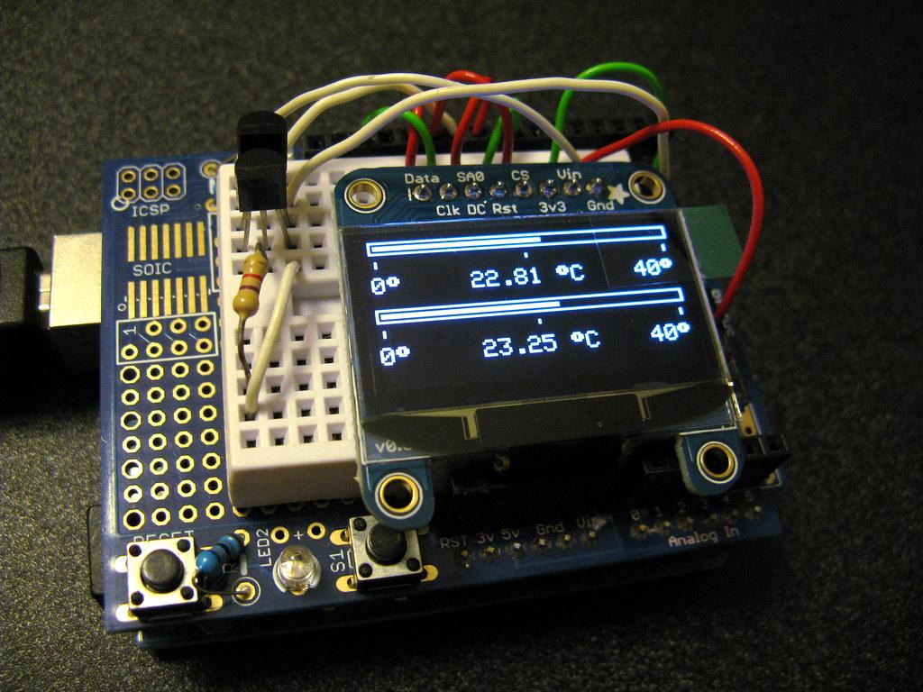 Arduino Uno & Adafruit OLED display | Temperatore measuring
