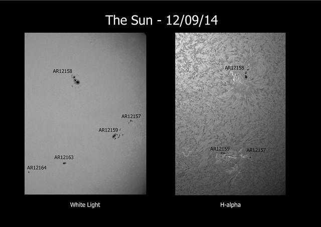 The Sun in white light & H-alpha 12/09/14