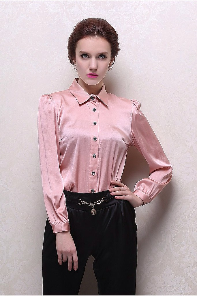56839c637 Pink satin button up blouse | ejt1977 | Flickr