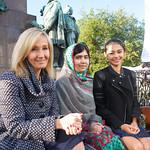 JK Rowling and Malala Yousafzai in Charlotte Square Gardens with Nelufar Hedayat |