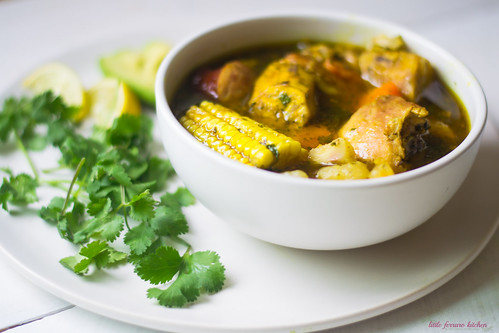 Dominican Sancocho: A hearty three meat stew filled with robust flavors of sazon, adobo and packed with hearty bites of yucca, plantain and corn. | by FerraroKitchen1