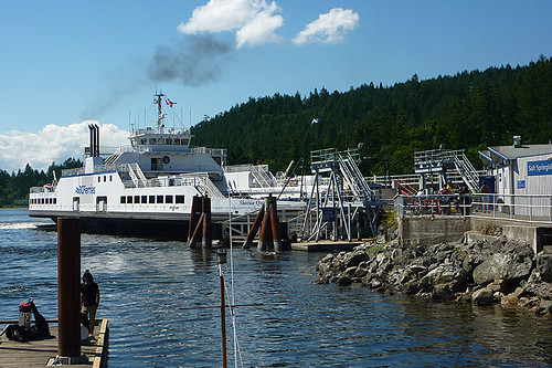 BC Ferry docking at Fulford Harbour, Saltspring Island, Gulf Islands, Georgia Strait, British Columbia, Canada
