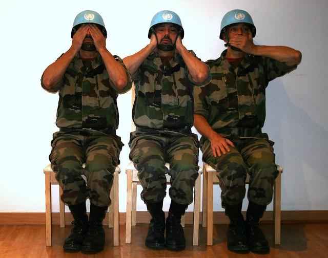 UNITED NATIONS. The three monkeys.