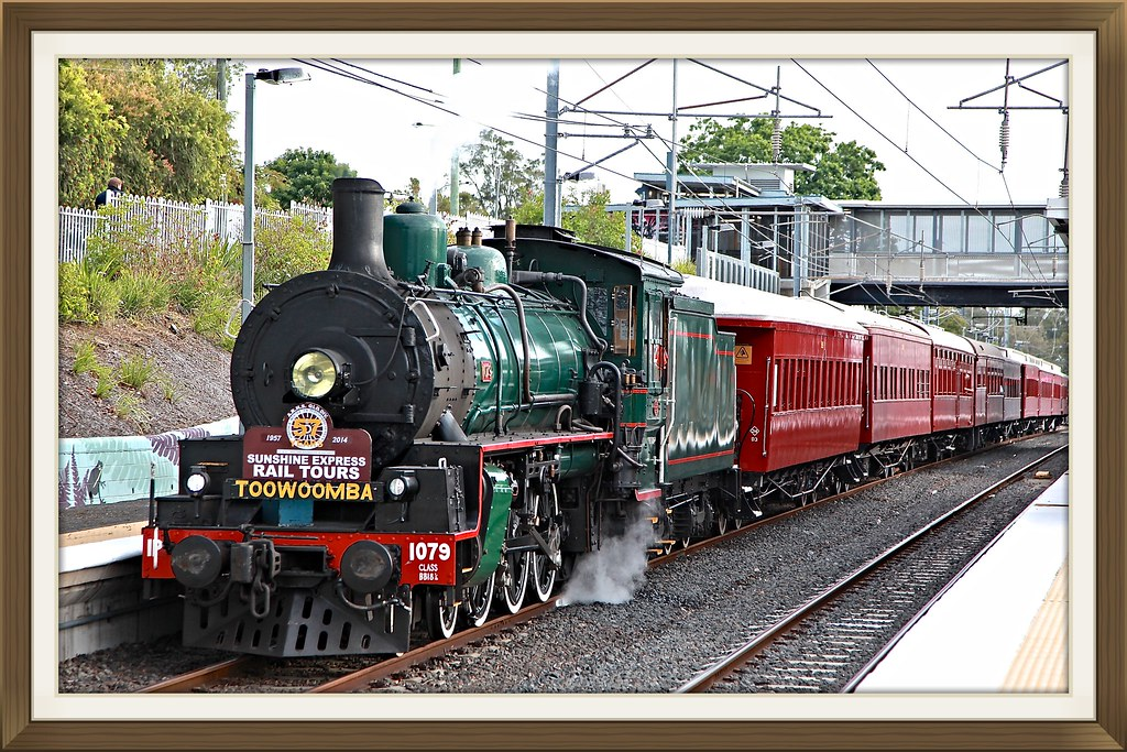 Australian Class BB18 1/4  4-6-2  numbered 1079 arriving Corinda Station for destination Toowoomba's Carnival of Flowers. 20 September 2014 by Lance CASTLE
