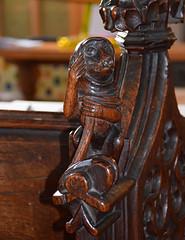 monkey in a cowl (grinding a hurdy-gurdy?), 15th Century